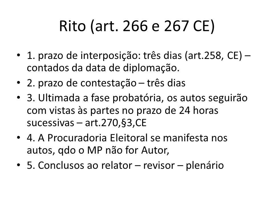 Rito (art. 266 e 267 CE) 1. prazo de interposição: três dias (art.258, CE) – contados da data de diplomação. 2. prazo de contestação – três dias 3. Ul