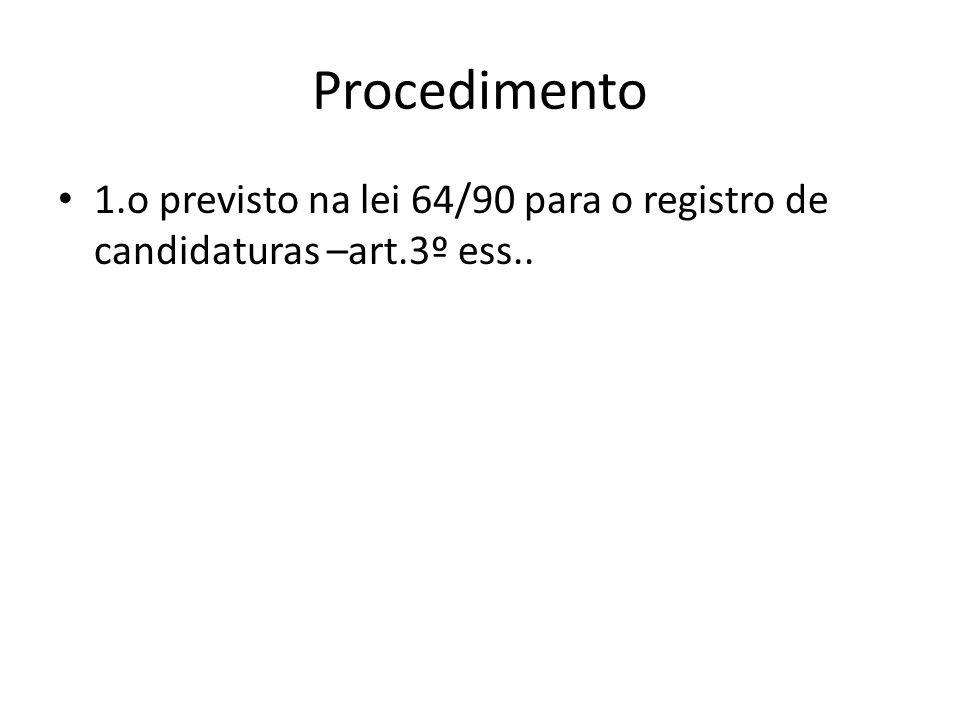Procedimento 1.o previsto na lei 64/90 para o registro de candidaturas –art.3º ess..