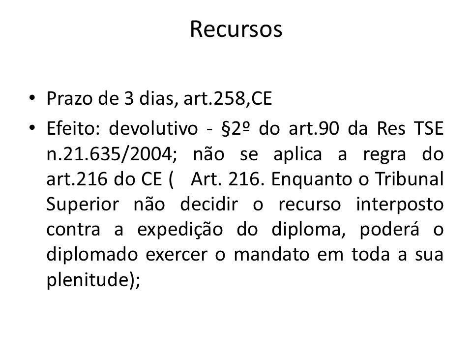 Recursos Prazo de 3 dias, art.258,CE Efeito: devolutivo - §2º do art.90 da Res TSE n.21.635/2004; não se aplica a regra do art.216 do CE ( Art. 216. E