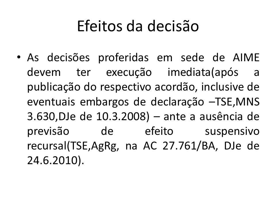 Efeitos da decisão As decisões proferidas em sede de AIME devem ter execução imediata(após a publicação do respectivo acordão, inclusive de eventuais