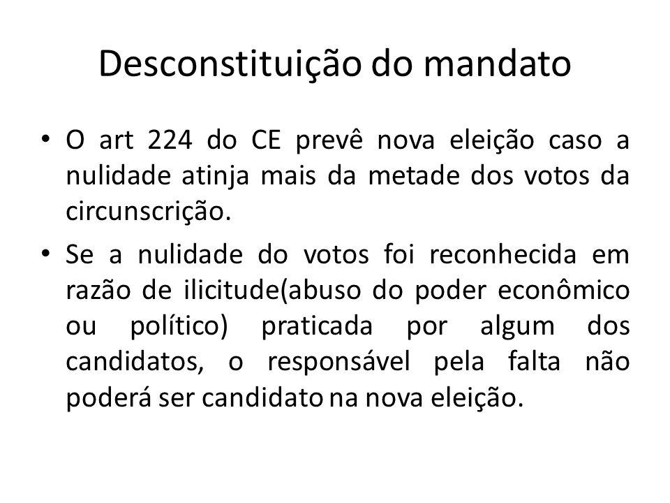 Desconstituição do mandato O art 224 do CE prevê nova eleição caso a nulidade atinja mais da metade dos votos da circunscrição. Se a nulidade do votos