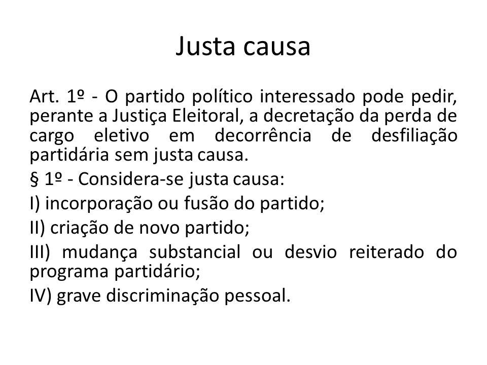 Justa causa Art. 1º - O partido político interessado pode pedir, perante a Justiça Eleitoral, a decretação da perda de cargo eletivo em decorrência de