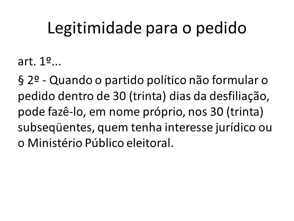 Legitimidade para o pedido art. 1º... § 2º - Quando o partido político não formular o pedido dentro de 30 (trinta) dias da desfiliação, pode fazê-lo,