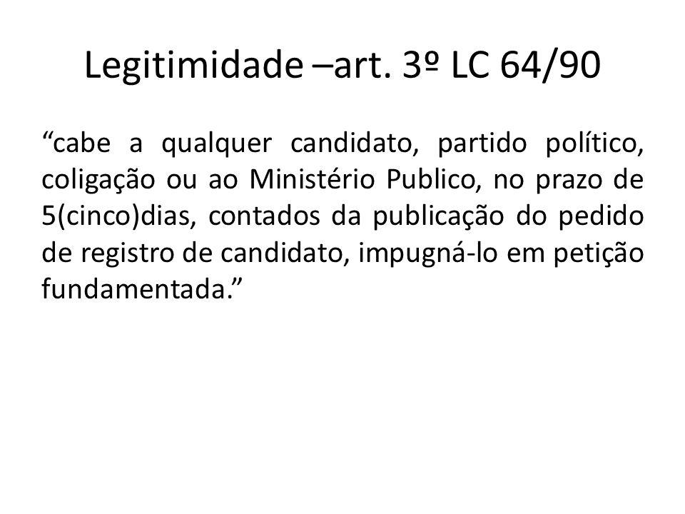 Legitimidade –art. 3º LC 64/90 cabe a qualquer candidato, partido político, coligação ou ao Ministério Publico, no prazo de 5(cinco)dias, contados da