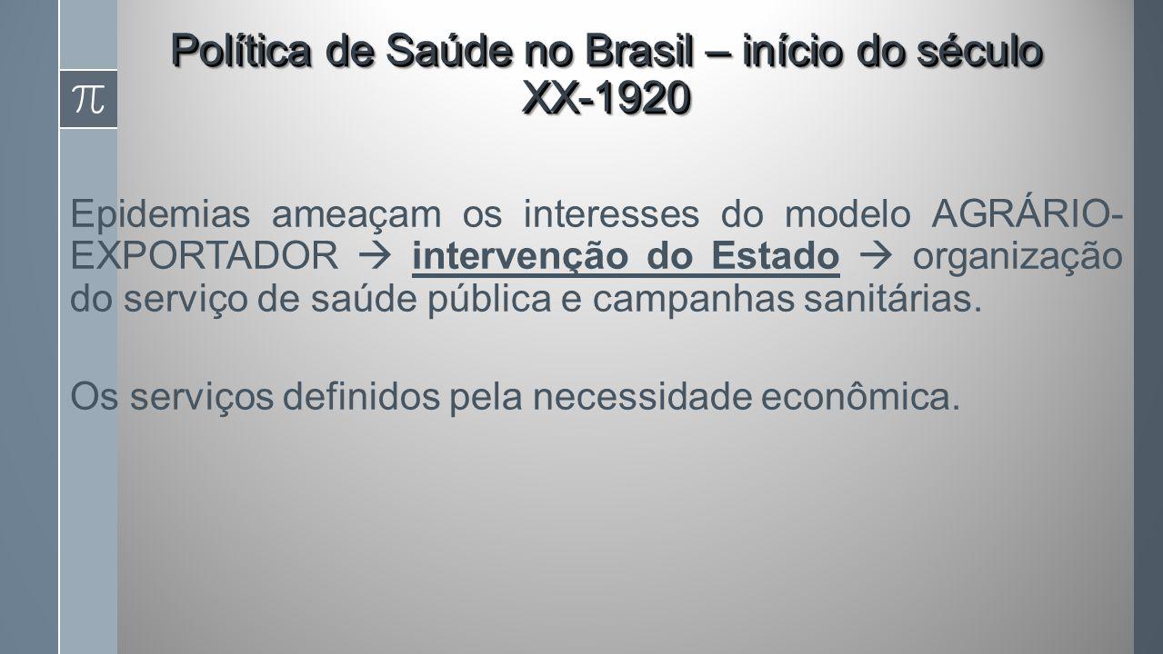 Epidemias ameaçam os interesses do modelo AGRÁRIO- EXPORTADOR intervenção do Estado organização do serviço de saúde pública e campanhas sanitárias.