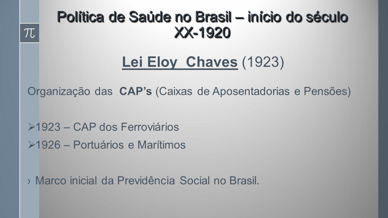 Lei Eloy Chaves (1923) Organização das CAPs (Caixas de Aposentadorias e Pensões) 1923 – CAP dos Ferroviários 1926 – Portuários e Marítimos Marco inicial da Previdência Social no Brasil.
