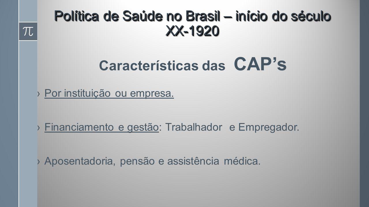 Características das CAPs Por instituição ou empresa.