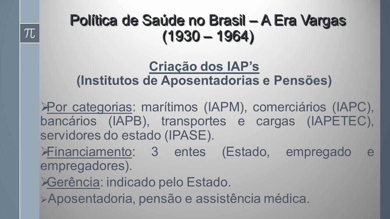 Por categorias: marítimos (IAPM), comerciários (IAPC), bancários (IAPB), transportes e cargas (IAPETEC), servidores do estado (IPASE).