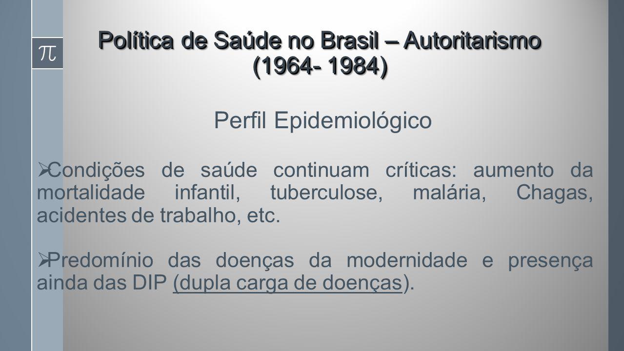 Política de Saúde no Brasil – Autoritarismo (1964- 1984) Condições de saúde continuam críticas: aumento da mortalidade infantil, tuberculose, malária, Chagas, acidentes de trabalho, etc.