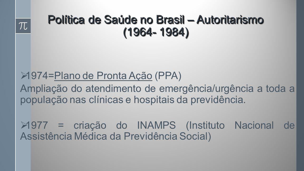 1974=Plano de Pronta Ação (PPA) Ampliação do atendimento de emergência/urgência a toda a população nas clínicas e hospitais da previdência.