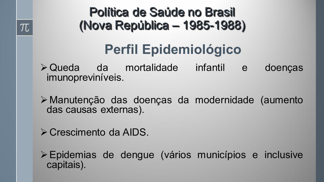Perfil Epidemiológico Queda da mortalidade infantil e doenças imunopreviníveis.