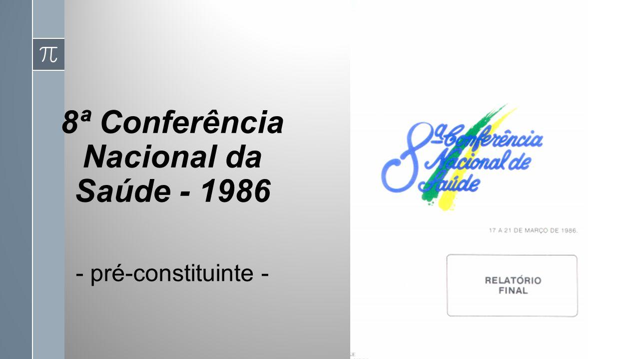 8ª Conferência Nacional da Saúde - 1986 - pré-constituinte -