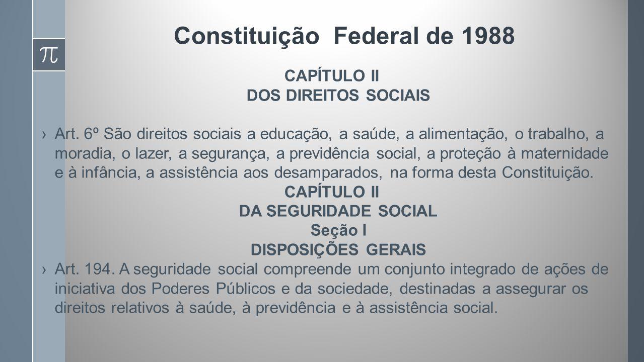 Constituição Federal de 1988 CAPÍTULO II DOS DIREITOS SOCIAIS Art.