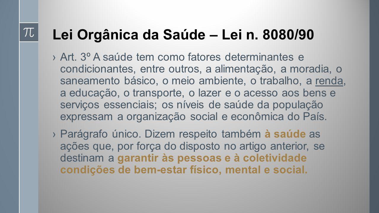 Lei Orgânica da Saúde – Lei n.8080/90 Art.