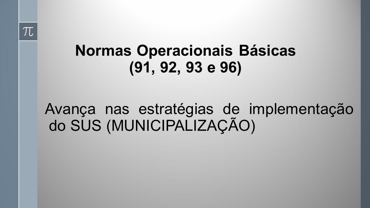 Normas Operacionais Básicas (91, 92, 93 e 96) Avança nas estratégias de implementação do SUS (MUNICIPALIZAÇÃO)