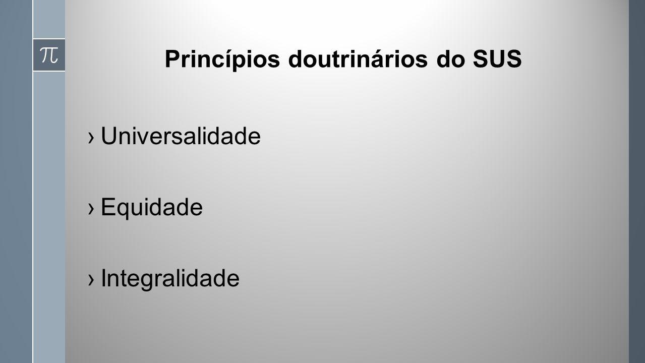 Princípios doutrinários do SUS Universalidade Equidade Integralidade