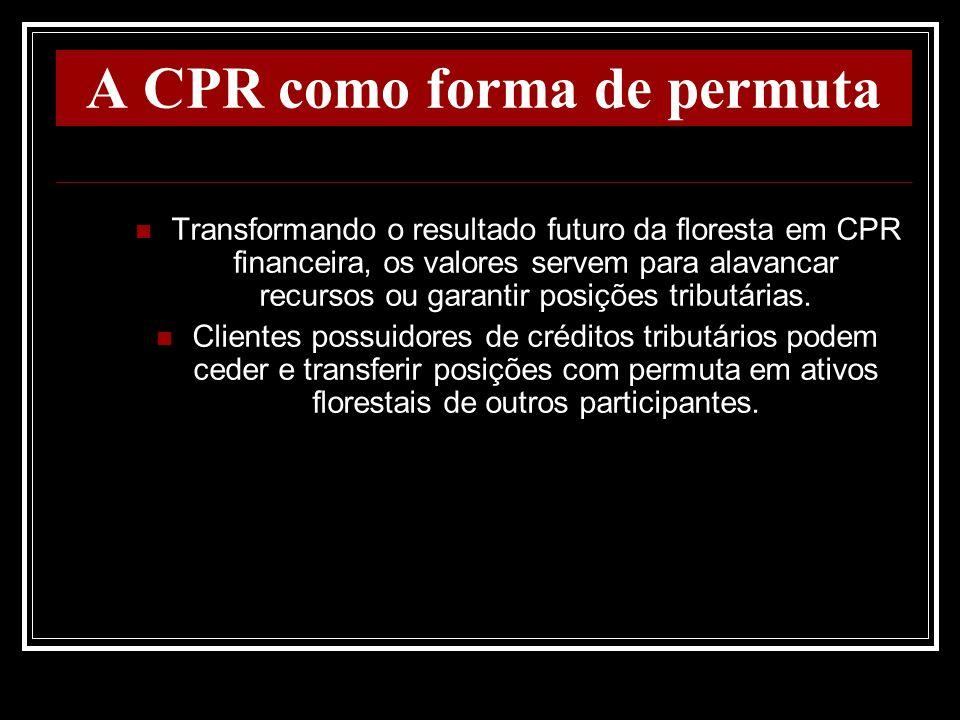 A CPR como forma de permuta Transformando o resultado futuro da floresta em CPR financeira, os valores servem para alavancar recursos ou garantir posi