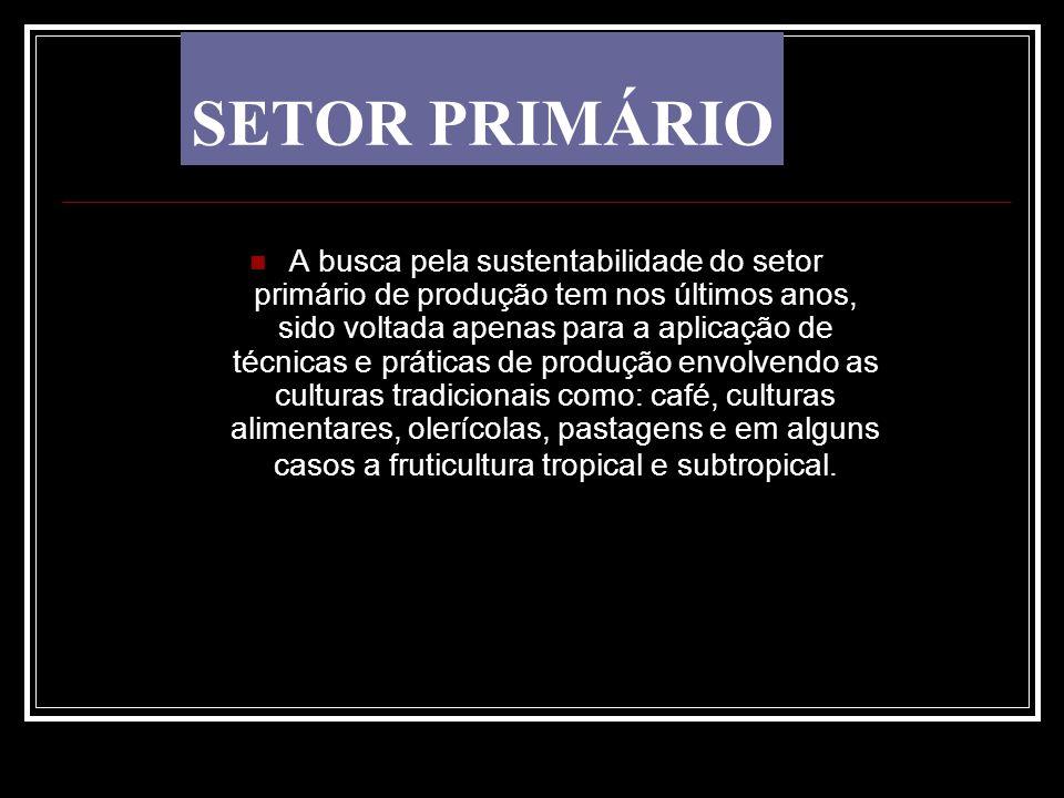 SETOR PRIMÁRIO A busca pela sustentabilidade do setor primário de produção tem nos últimos anos, sido voltada apenas para a aplicação de técnicas e pr