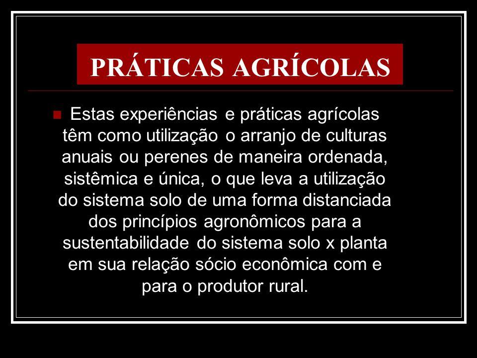 PRÁTICAS AGRÍCOLAS Estas experiências e práticas agrícolas têm como utilização o arranjo de culturas anuais ou perenes de maneira ordenada, sistêmica