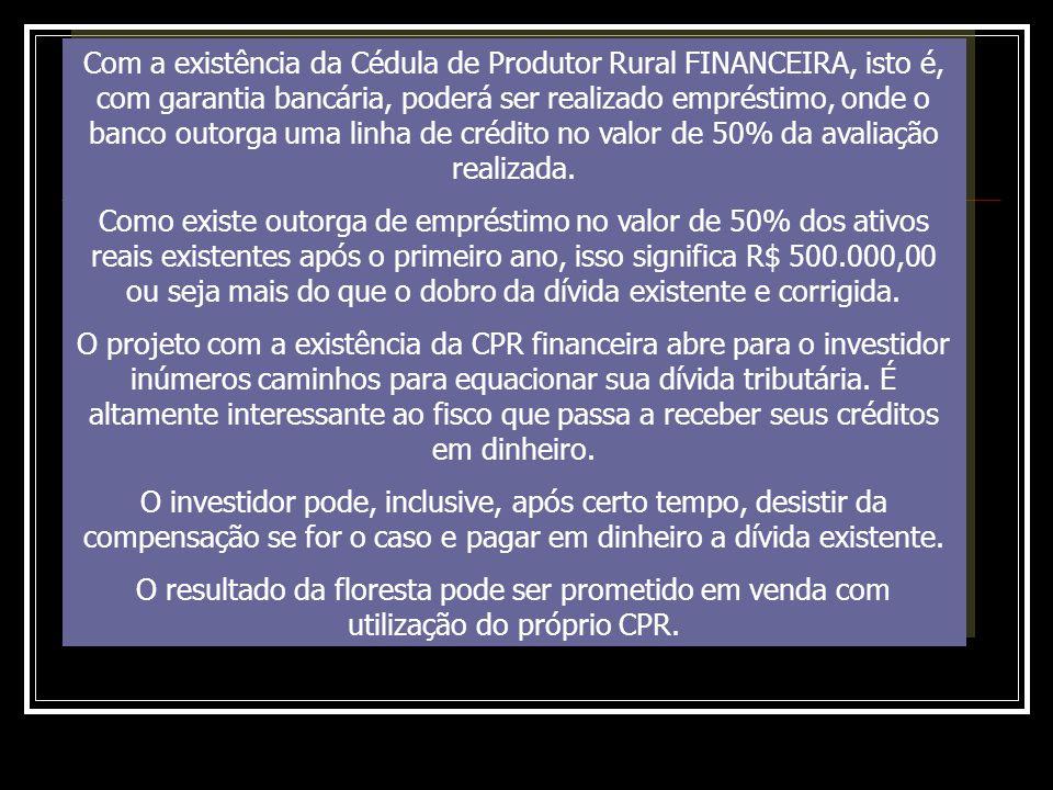 Com a existência da Cédula de Produtor Rural FINANCEIRA, isto é, com garantia bancária, poderá ser realizado empréstimo, onde o banco outorga uma linh