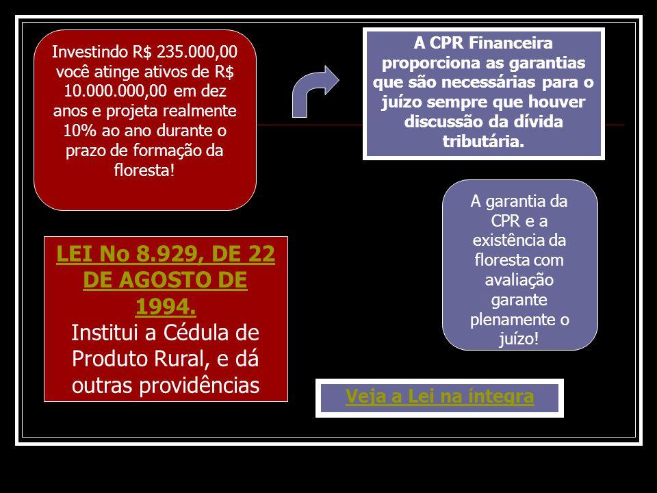 LEI No 8.929, DE 22 DE AGOSTO DE 1994. Institui a Cédula de Produto Rural, e dá outras providências Veja a Lei na íntegra A CPR Financeira proporciona