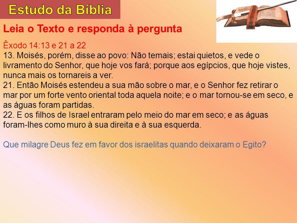 Leia o Texto e responda à pergunta Êxodo 14:13 e 21 a 22 13.
