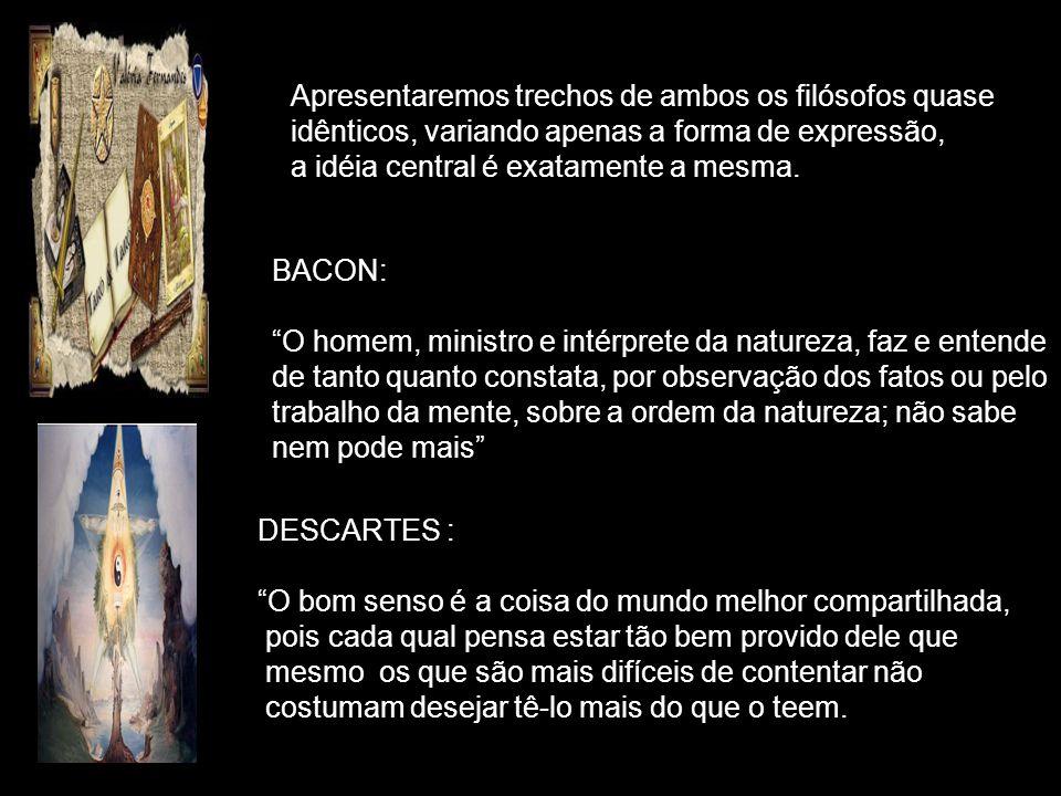 Bacon escreveu Novum Organum em 1620. Descartes escreveu O Discurso sobre o Método em 1637 e as Meditações em 1641. Ambos os filósofos rejeitam a trad