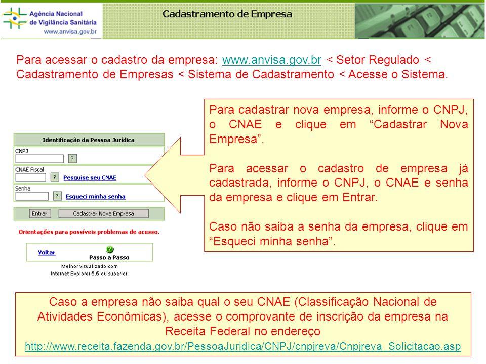 Para cadastrar nova empresa, informe o CNPJ, o CNAE e clique em Cadastrar Nova Empresa.