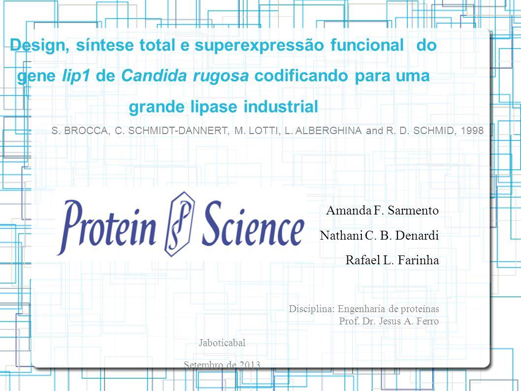 Design, síntese total e superexpressão funcional do gene lip1 de Candida rugosa codificando para uma grande lipase industrial Amanda F.