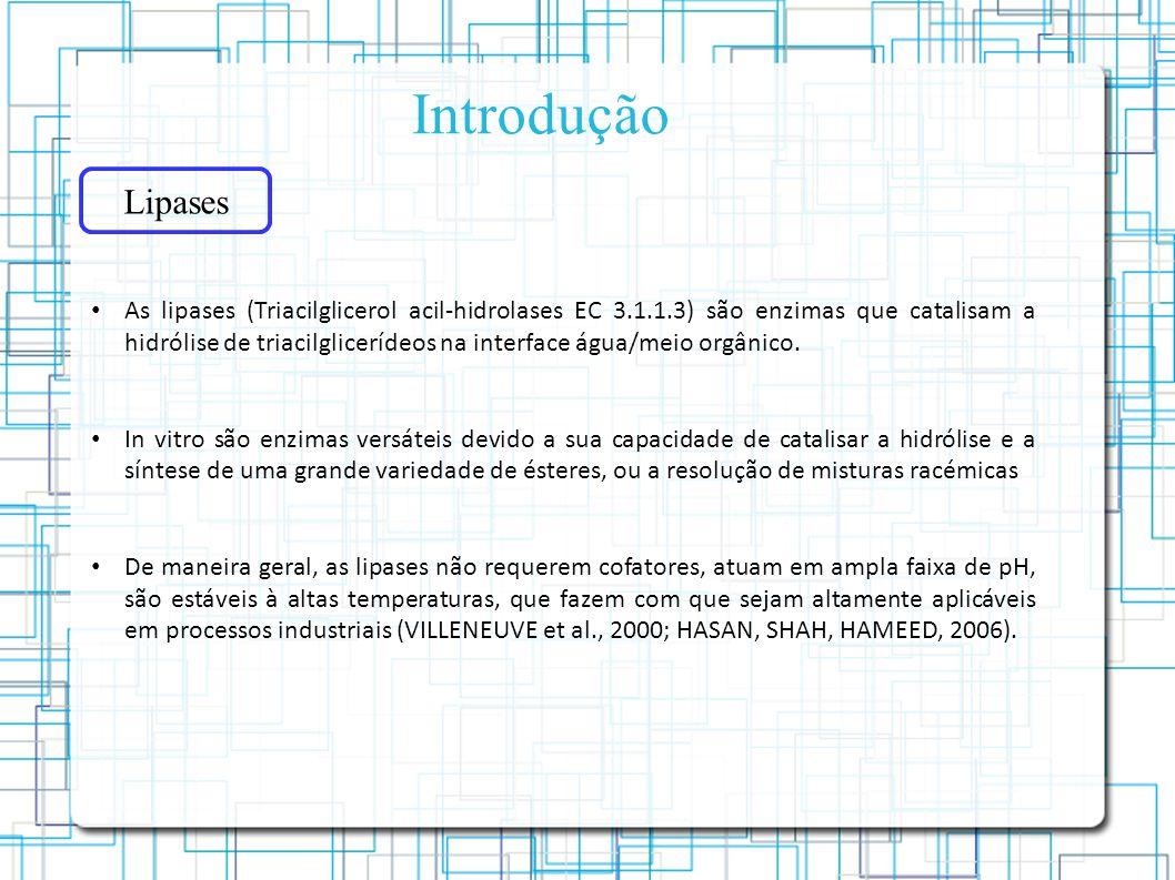 Introdução Lipases As lipases (Triacilglicerol acil-hidrolases EC 3.1.1.3) são enzimas que catalisam a hidrólise de triacilglicerídeos na interface água/meio orgânico.