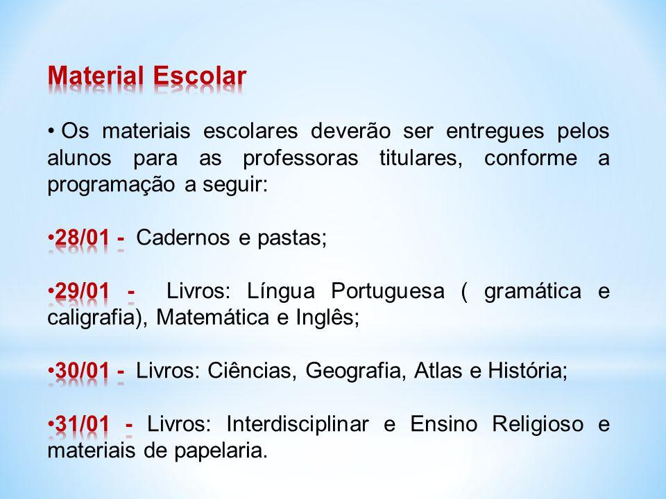 Os materiais deverão ser devidamente identificados com o nome do aluno e ano em que está matriculado.