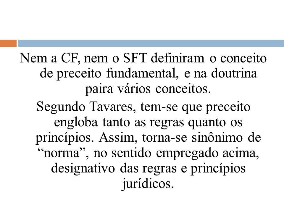 Nem a CF, nem o SFT definiram o conceito de preceito fundamental, e na doutrina paira vários conceitos. Segundo Tavares, tem-se que preceito engloba t