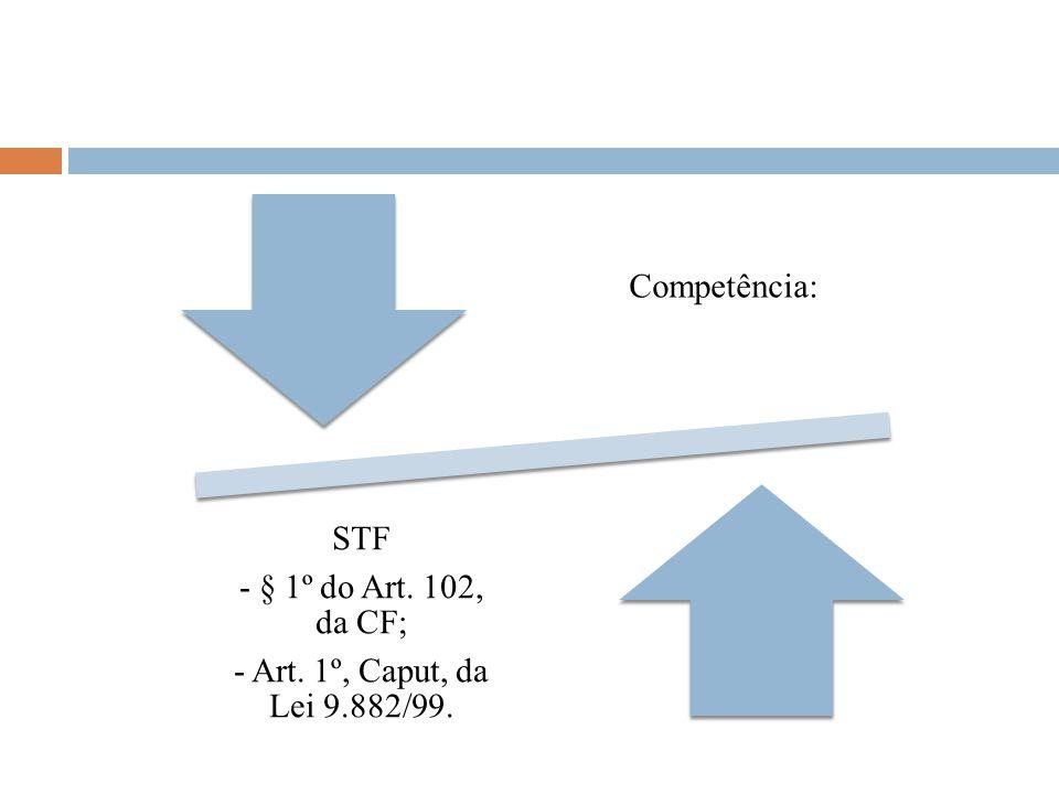 Competência: STF - § 1º do Art. 102, da CF; - Art. 1º, Caput, da Lei 9.882/99.