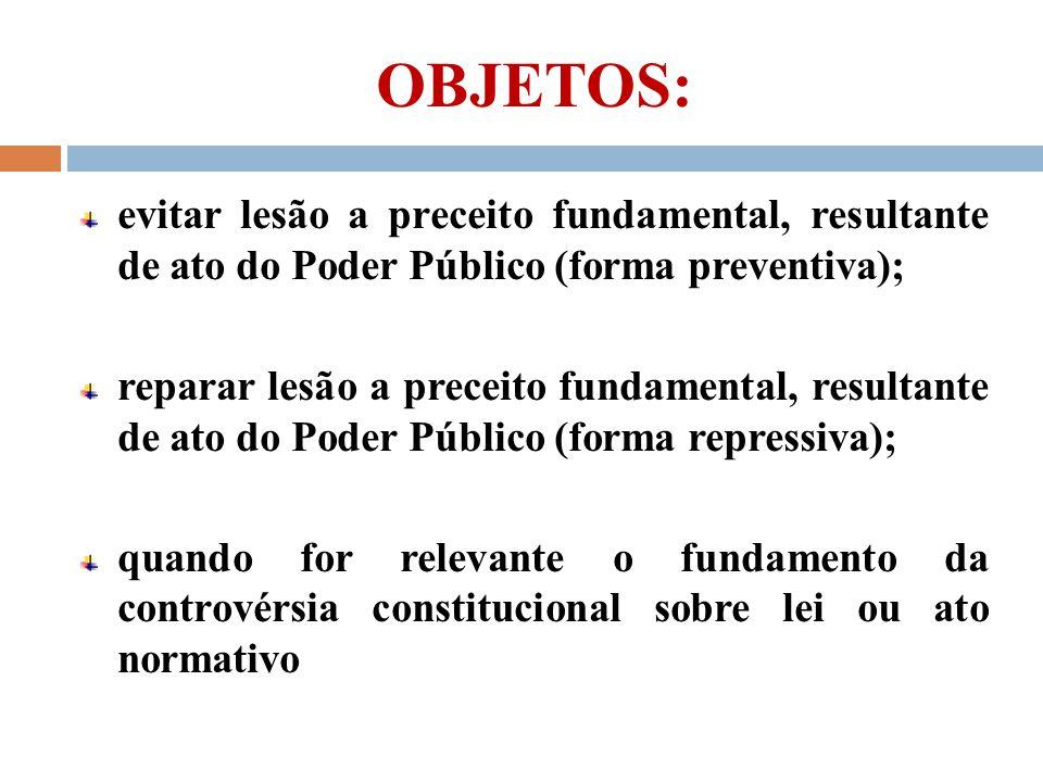 OBJETOS: evitar lesão a preceito fundamental, resultante de ato do Poder Público (forma preventiva); reparar lesão a preceito fundamental, resultante