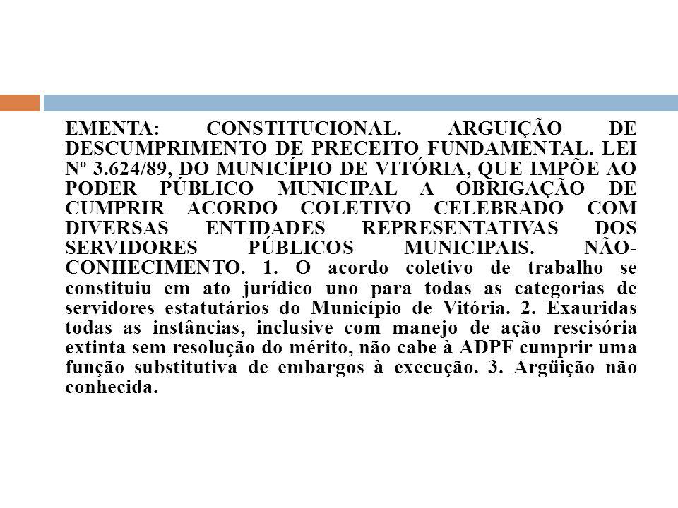 EMENTA: CONSTITUCIONAL. ARGUIÇÃO DE DESCUMPRIMENTO DE PRECEITO FUNDAMENTAL. LEI Nº 3.624/89, DO MUNICÍPIO DE VITÓRIA, QUE IMPÕE AO PODER PÚBLICO MUNIC