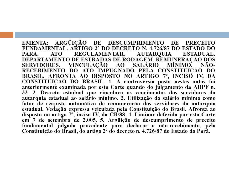 EMENTA: ARGÜIÇÃO DE DESCUMPRIMENTO DE PRECEITO FUNDAMENTAL. ARTIGO 2º DO DECRETO N. 4.726/87 DO ESTADO DO PARÁ. ATO REGULAMENTAR. AUTARQUIA ESTADUAL.