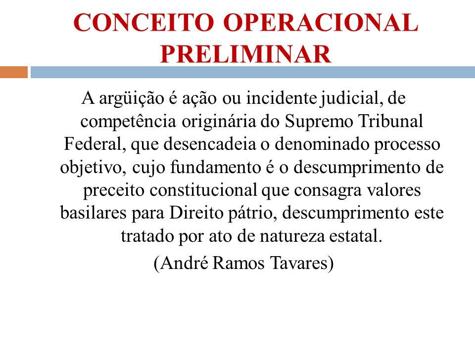 CONCEITO OPERACIONAL PRELIMINAR A argüição é ação ou incidente judicial, de competência originária do Supremo Tribunal Federal, que desencadeia o deno