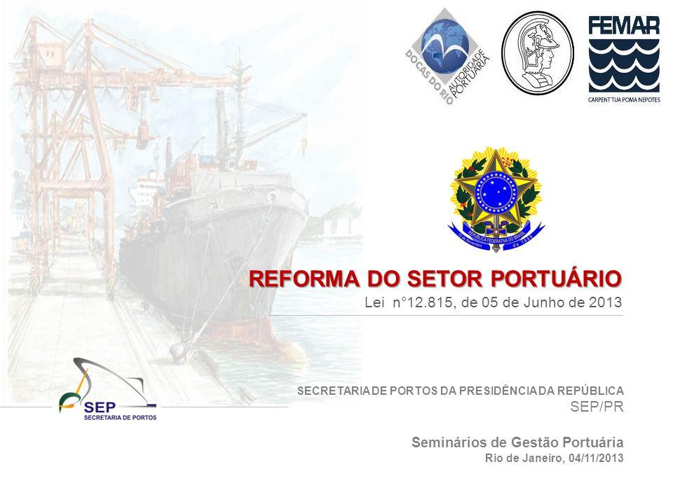 SECRETARIA DE PORTOS DA PRESIDÊNCIA DA REPÚBLICA SEP/PR REFORMA DO SETOR PORTUÁRIO Lei n°12.815, de 05 de Junho de 2013 Seminários de Gestão Portuária Rio de Janeiro, 04/11/2013