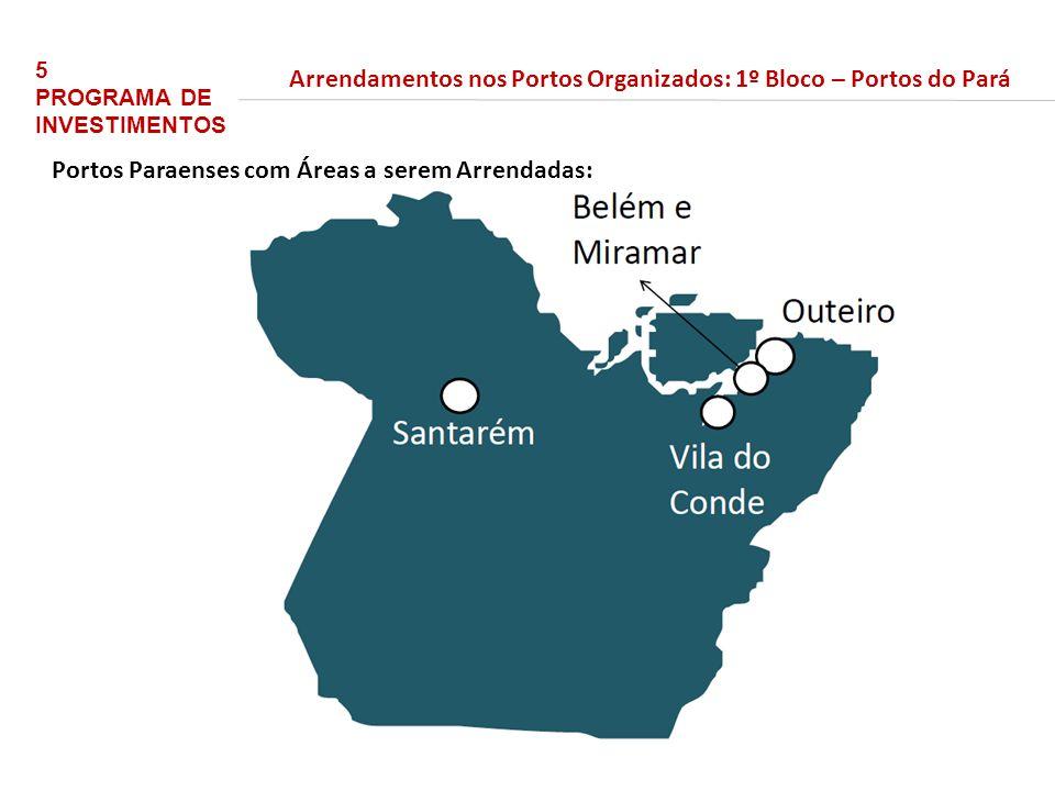 bilhões 54,2 em 2016/17 até 2014/15 23,2 bilhões 5 PROGRAMA DE INVESTIMENTOS Arrendamentos nos Portos Organizados: 1º Bloco – Portos do Pará Portos Paraenses com Áreas a serem Arrendadas: