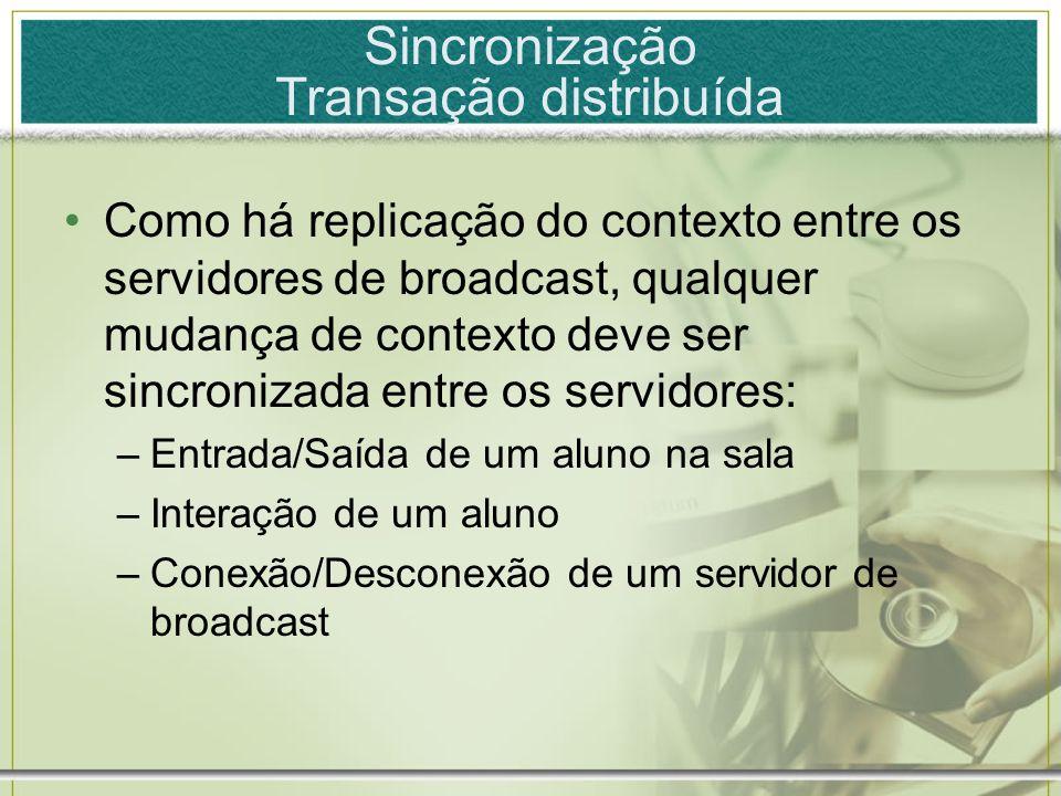Sincronização Transação distribuída Como há replicação do contexto entre os servidores de broadcast, qualquer mudança de contexto deve ser sincronizad