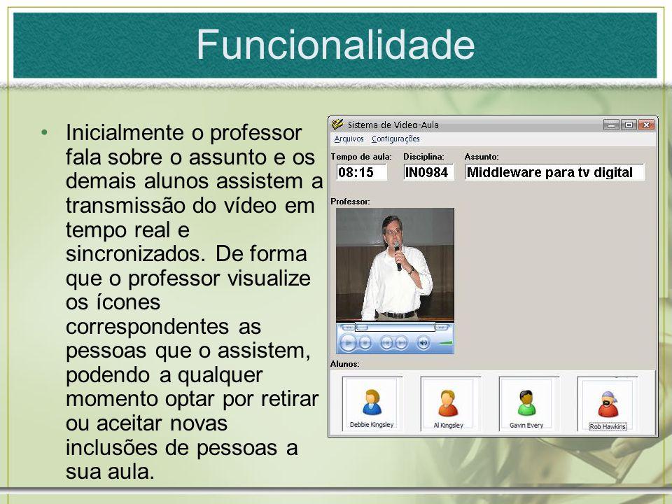 Funcionalidade Inicialmente o professor fala sobre o assunto e os demais alunos assistem a transmissão do vídeo em tempo real e sincronizados. De form
