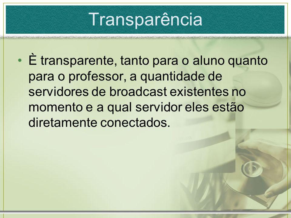 Transparência È transparente, tanto para o aluno quanto para o professor, a quantidade de servidores de broadcast existentes no momento e a qual servi
