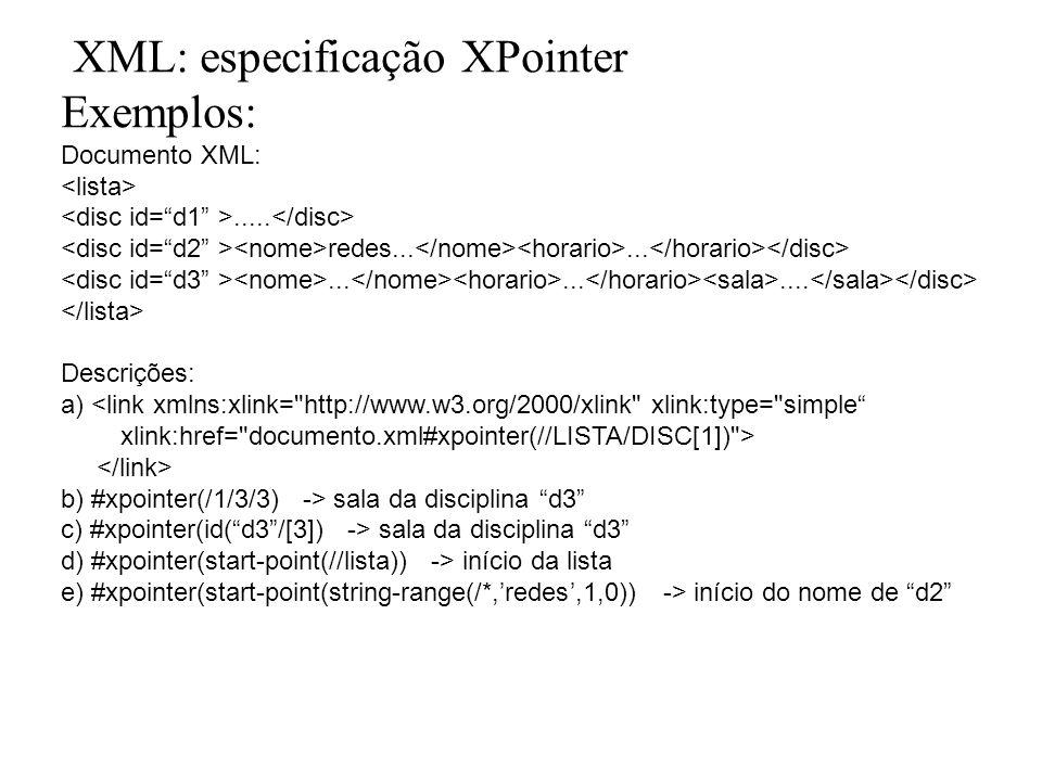 XML: especificação XPointer Exemplos: Documento XML:..... redes................ Descrições: a) <link xmlns:xlink=