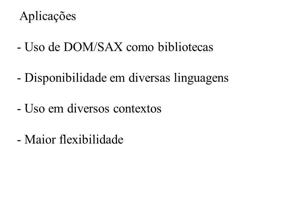 Aplicações - Uso de DOM/SAX como bibliotecas - Disponibilidade em diversas linguagens - Uso em diversos contextos - Maior flexibilidade