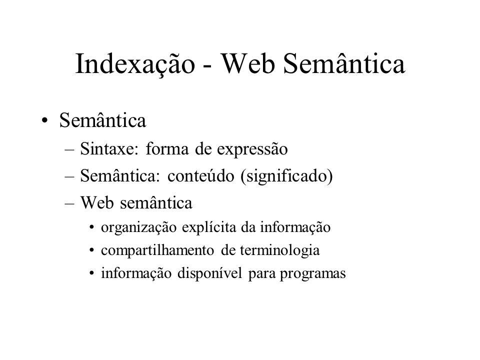 Indexação - Web Semântica Semântica –Sintaxe: forma de expressão –Semântica: conteúdo (significado) –Web semântica organização explícita da informação