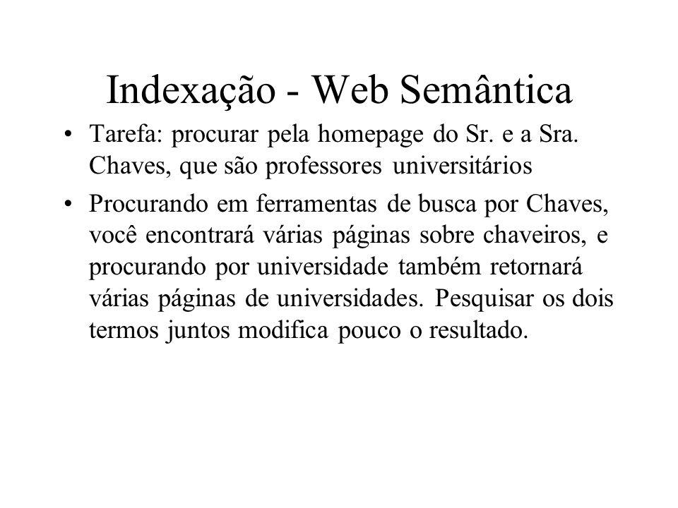 Indexação - Web Semântica Tarefa: procurar pela homepage do Sr. e a Sra. Chaves, que são professores universitários Procurando em ferramentas de busca