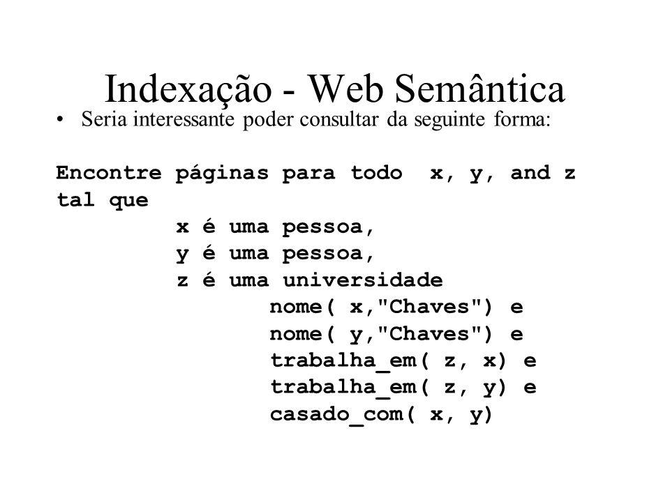 Indexação - Web Semântica Seria interessante poder consultar da seguinte forma: Encontre páginas para todo x, y, and z tal que x é uma pessoa, y é uma