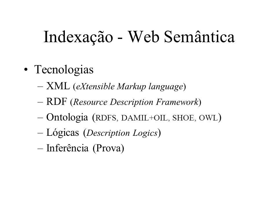 Indexação - Web Semântica Tecnologias –XML (eXtensible Markup language) –RDF (Resource Description Framework) –Ontologia ( RDFS, DAMIL+OIL, SHOE, OWL