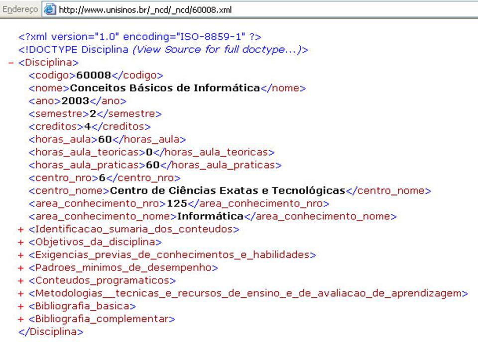 Web Semântica { Sintaxe bem definida: exemplo: xml p/ disciplina, página de professor anotação em texto