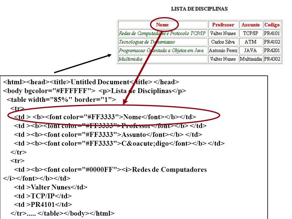 Untitled Document Lista de Disciplinas Nome Professor Assunto Código Redes de Computadores Valter Nunes TCP/IP PR4101.....